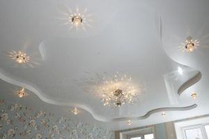двухуровневые натяжные потолки в зал
